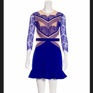 THREE FLOOR COBALT BLUE LACE MINI DRESS